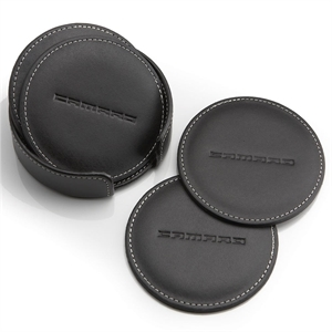 Round Faux Leather Coaster with Coaster Holder